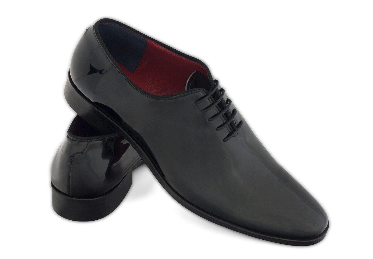 Gentlemen`s Corner One-Piece Black Patent Leather Shoes