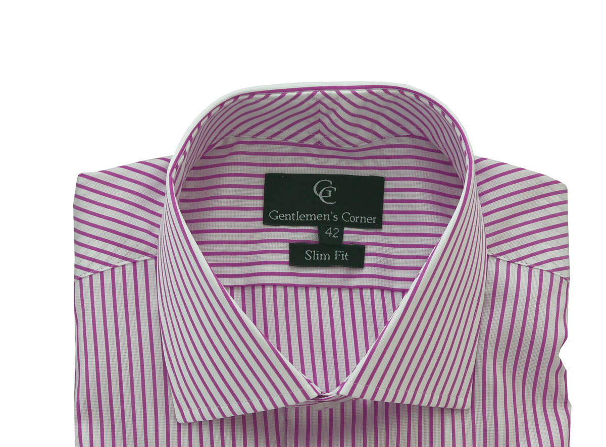 Chester Pink Stripe White Shirt - Collar