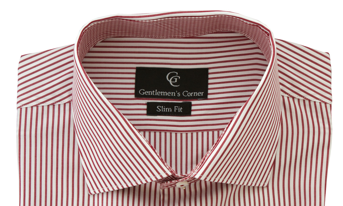 Baker Dark Red Stripe White Shirt - Collar