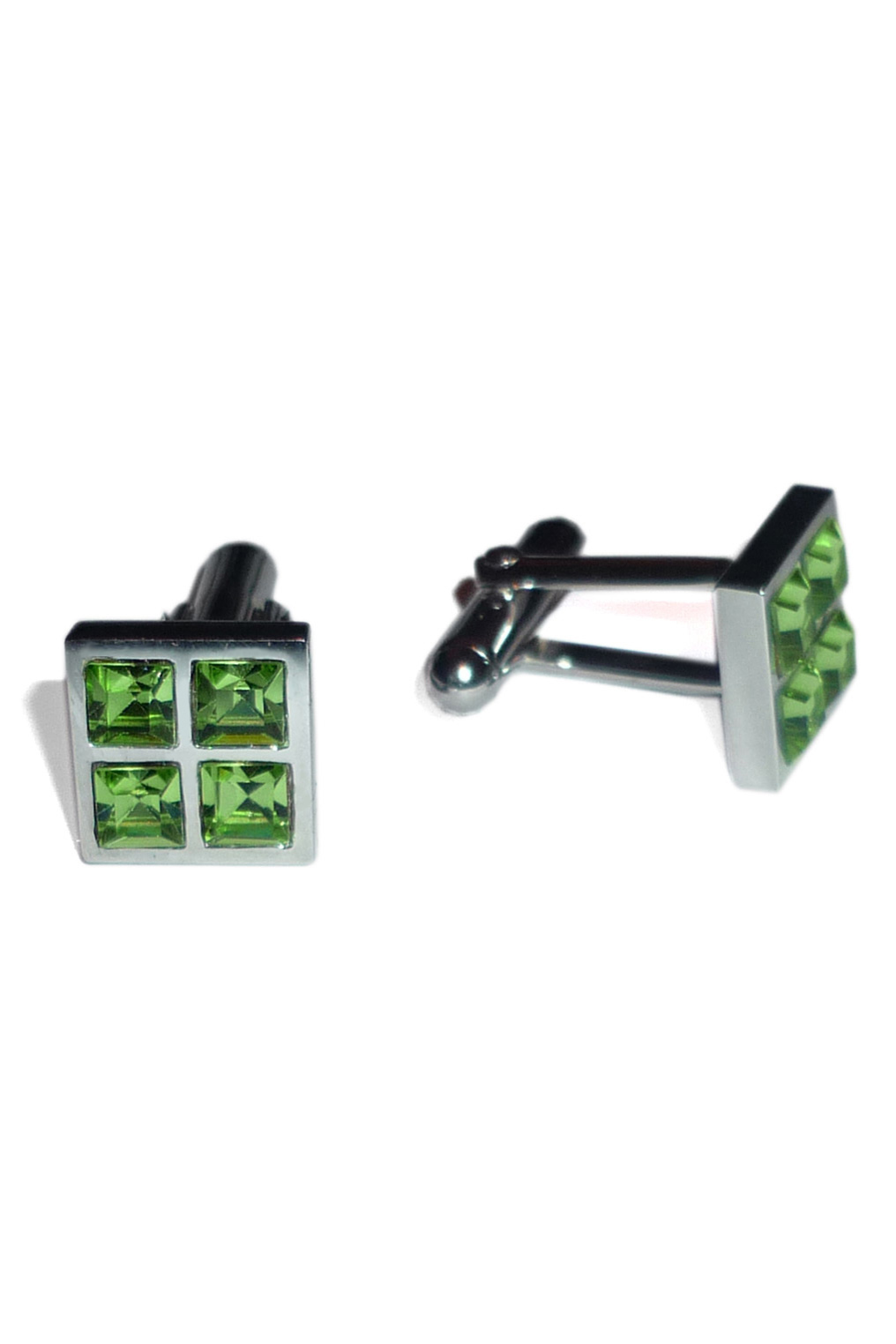 Square silver cufflinks with green Swarovski crystals ...