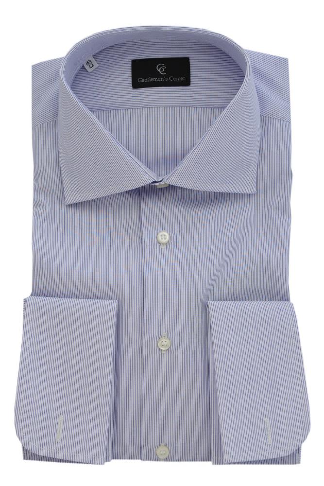 Camasa bleumarin cu dungi pentru butoni