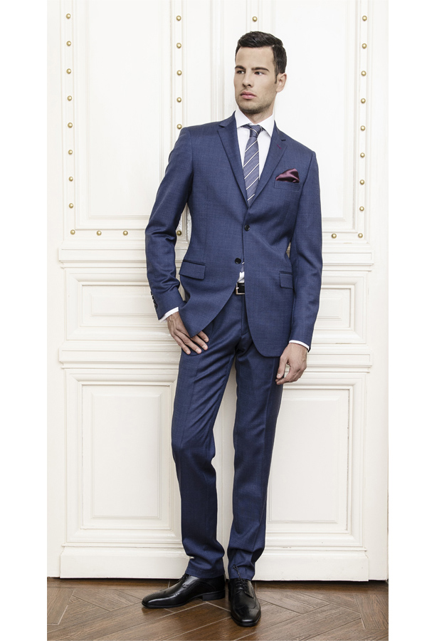 Gentlemen`s Corner Texture Light Blue Slim Fit Suit, Business Suits