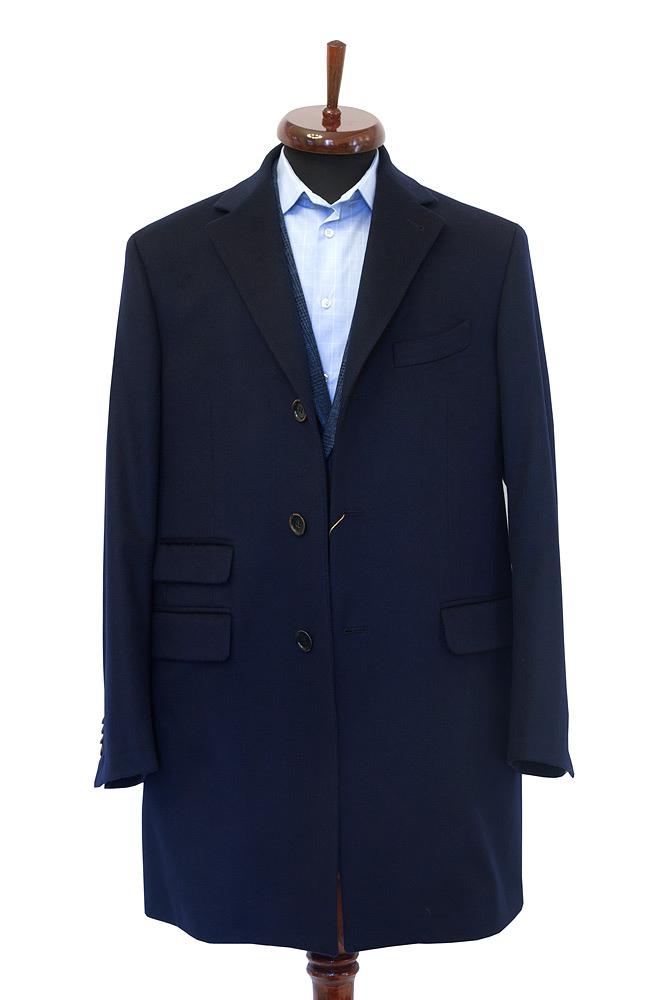 Gentlemen`s Corner Navy Slim Fit Overcoat, Winter Clothing - Coats