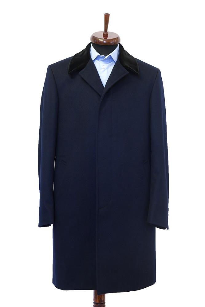 Palton la comanda bleumarin Gentlemen`s Corner - guler catifea - NOU!