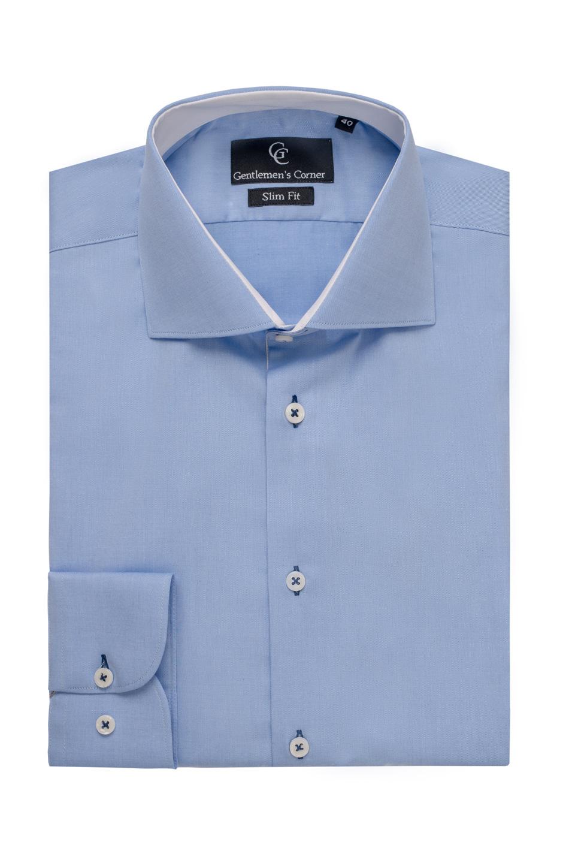 Camasa albastra Twill - contraste albe