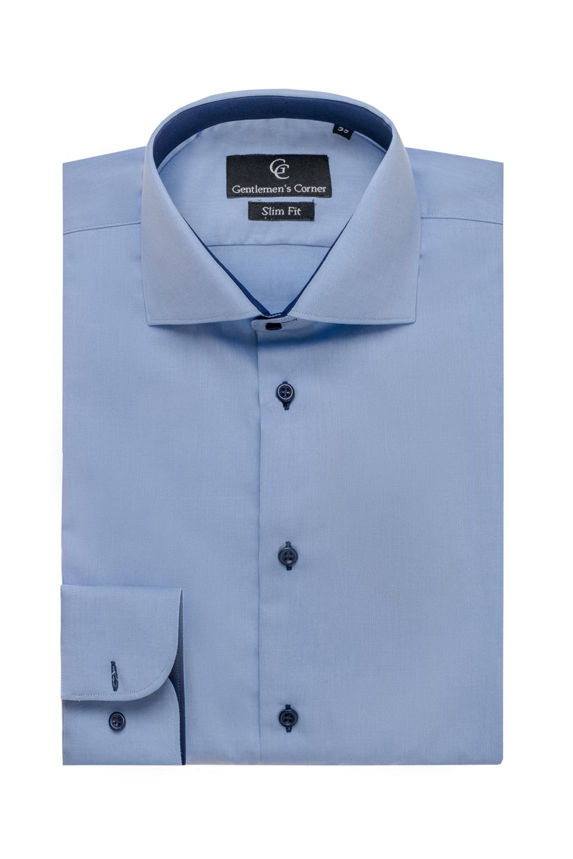 Camasa albastra Twill - contraste bleumarin