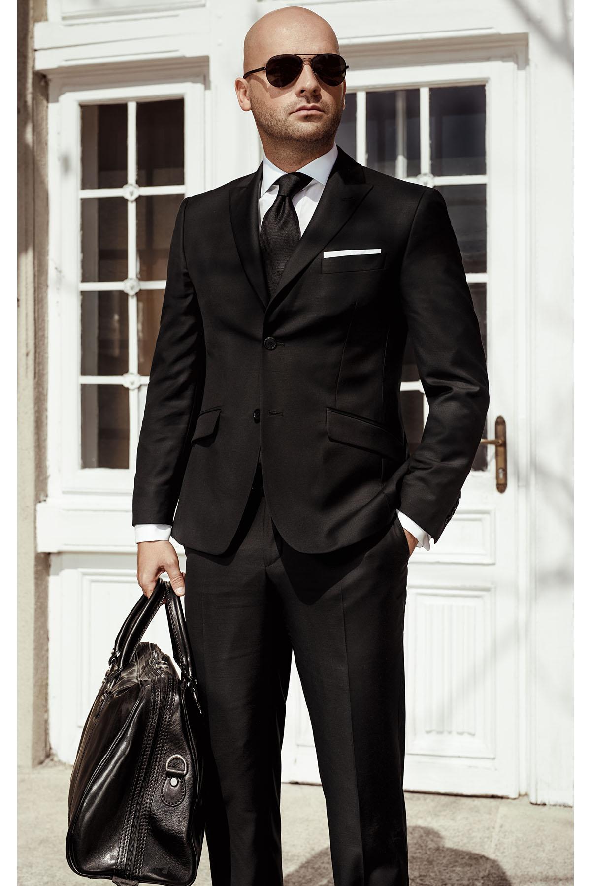Costum barbati negru Slim Fit Gentlemen`s Corner - NOU!