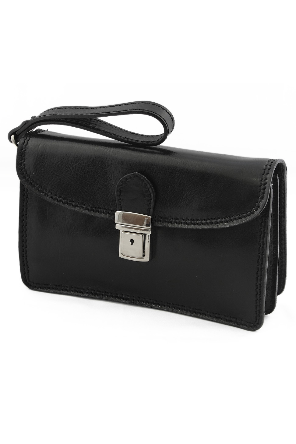 Borseta piele neagra Italia - design elegant