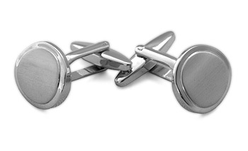 Round Shiny Cufflinks - Shiny/Brushed