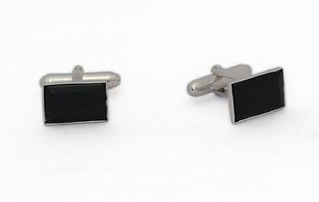Rectangular Silver Cufflinks - Murano Black