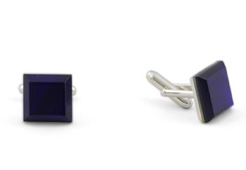Square Silver Cufflinks - Murano Navy