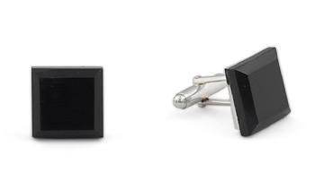Square Silver Cufflinks - Murano Black