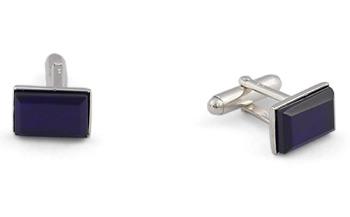 Rectangular Silver Cufflinks - Murano Navy