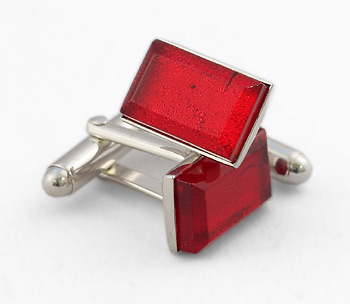 Rectangular Silver Cufflinks - Murano Ruby