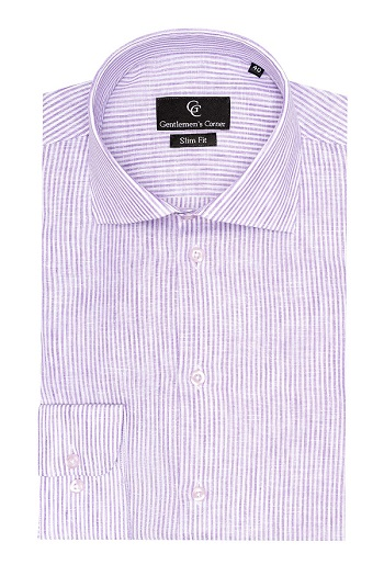 Gentlemen`s Corner Purple Stripe Linen Shirt - Button Cuff