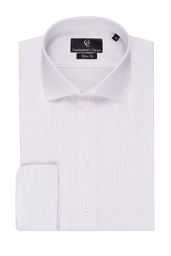Purple Fine Stripe White Shirt - Double Cuff