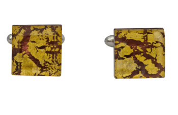 Square Silver Cufflinks - Murano purple Sommerso