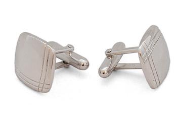 Square Silver Cufflinks - Stripes