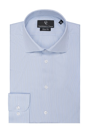 Piumino Blue Fine Stripe Shirt - Button Cuff