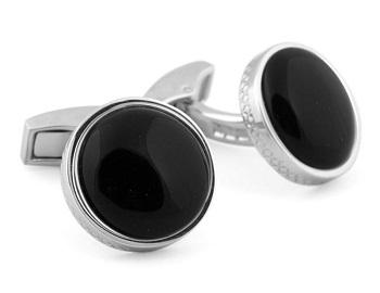 Tateossian Silver Cabochon Round Cufflinks - Black Onyx