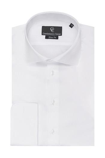 Piquet White Shirt - Double Cuff