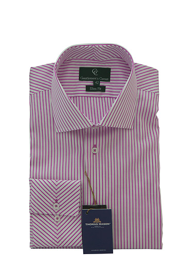 Chester Pink Stripe White Shirt - Button Cuff