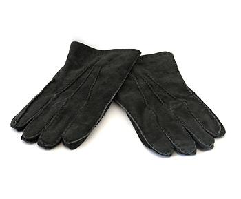 Fur Lined Suede Gloves - Black