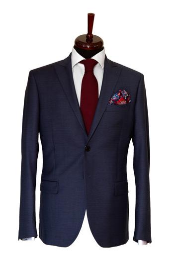 Gentlemen`s Corner Texture Blue Slim Fit Jacket
