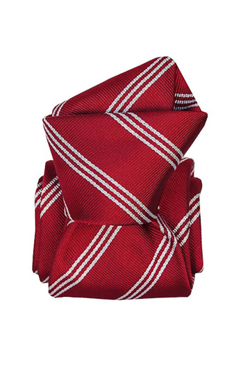 Gentlemen`s Corner White Stripe Red Silk Tie