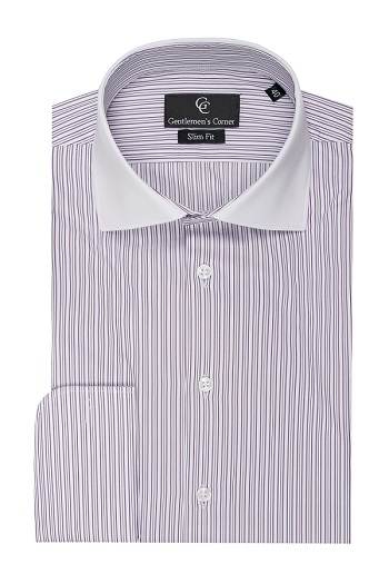 Clark Purple Stripe White Shirt - Double Cuff
