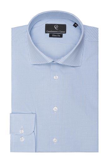 Jones Checks Blue Shirt - Button Cuff