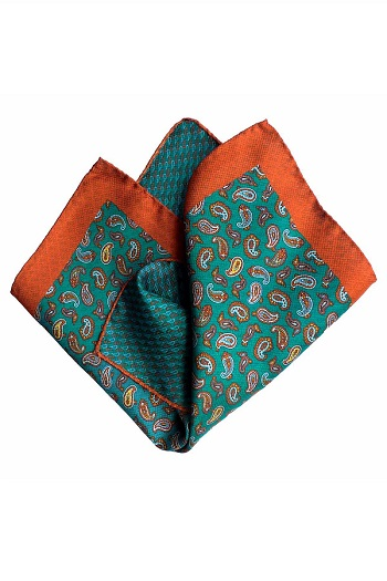 Gentlemen`s Corner Double Face Silk Pocket Square - Blue & Orange