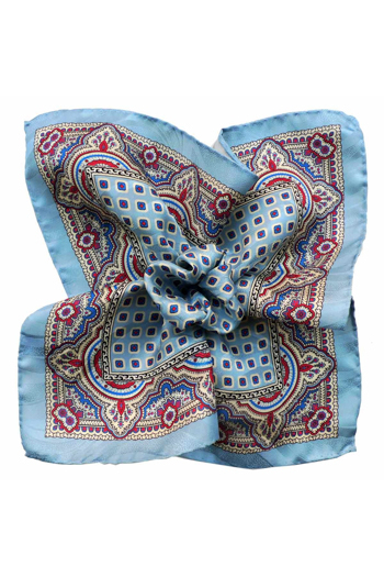 Gentlemen`s Corner Silk Pocket Square - Livorno Blue
