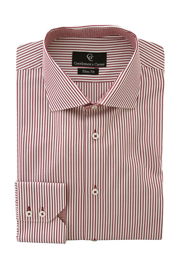 Baker Dark Red Stripe White Shirt - Button Cuff