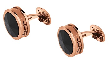 Montegrappa NeroUno Cufflinks - Rose Gold PVD Onyx Inlay