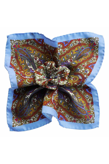 Gentlemen`s Corner Silk Pocket Square - Floral Red, Blue & White