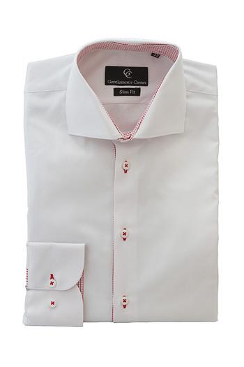 White Twill Shirt - Button Cuff - Red