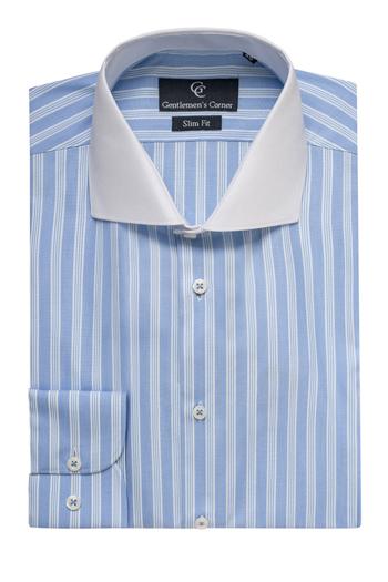 Roma White Collar Blue Stripe Shirt - Button Cuff