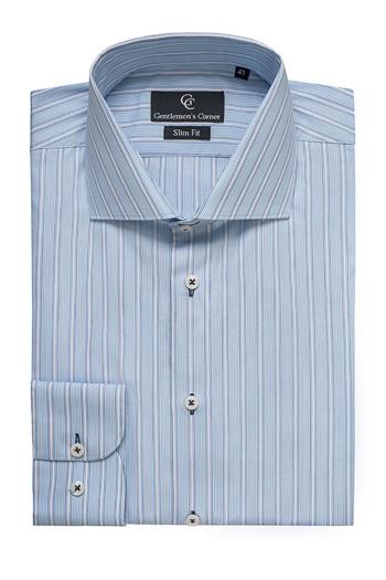 Roma Blue & White Stripe Shirt - Button Cuff