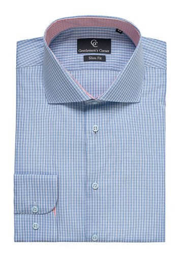 Roma Blue Checks Shirt - Button Cuff