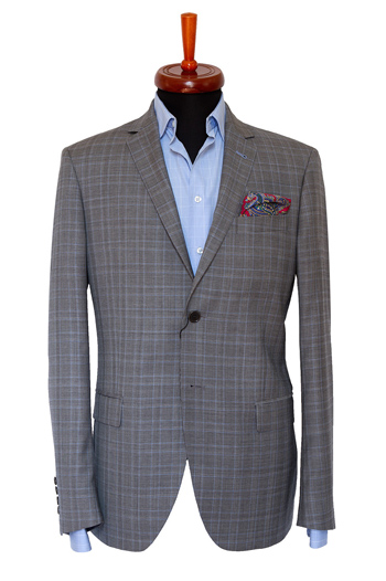 Gentlemen`s Corner Slim Fit Grey & Light Blue Checks Jacket
