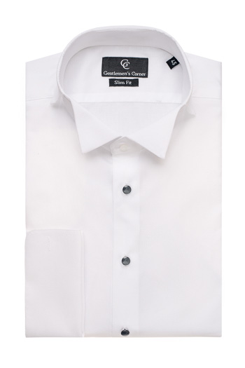 Naxos White Dress Shirt - Black Buttons