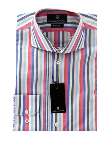 White, Blue & Red Stripe Shirt - Button Cuff