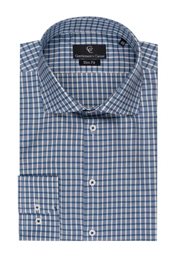 David Blue Check Slim Fit Shirt