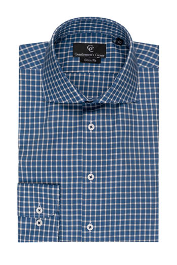 Jordan Navy Check Slim Fit Shirt