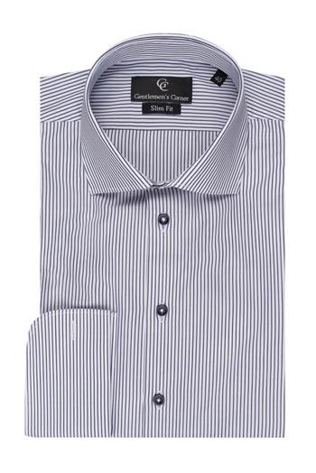 Black Stripe White Shirt - Double Cuff