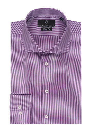 Purple Check Slim Fit Shirt