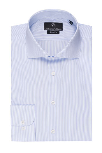 Blue Fine Stripe White Slim Fit Shirt