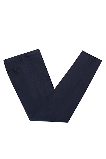 Gentlemen`s Corner Blue Check Slim Fit Trousers