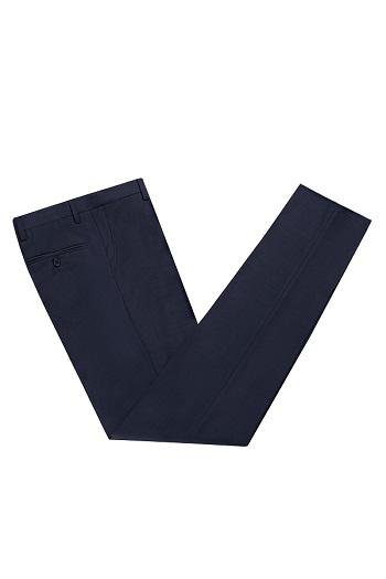 Gentlemen`s Corner Blue Check Slim Fit Trousers